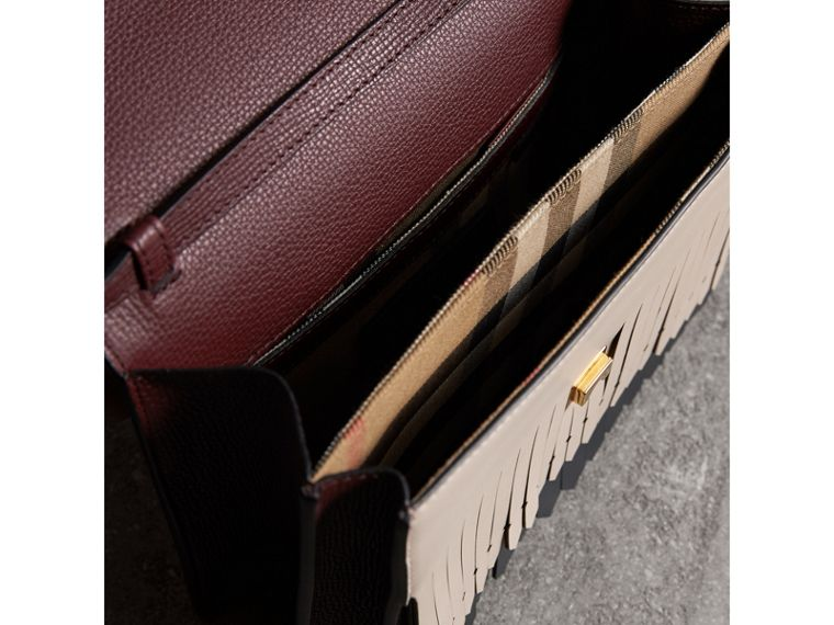 Brogue and Fringe Detail Leather Crossbody Bag in Mahogany Red - Women | Burberry - cell image 4