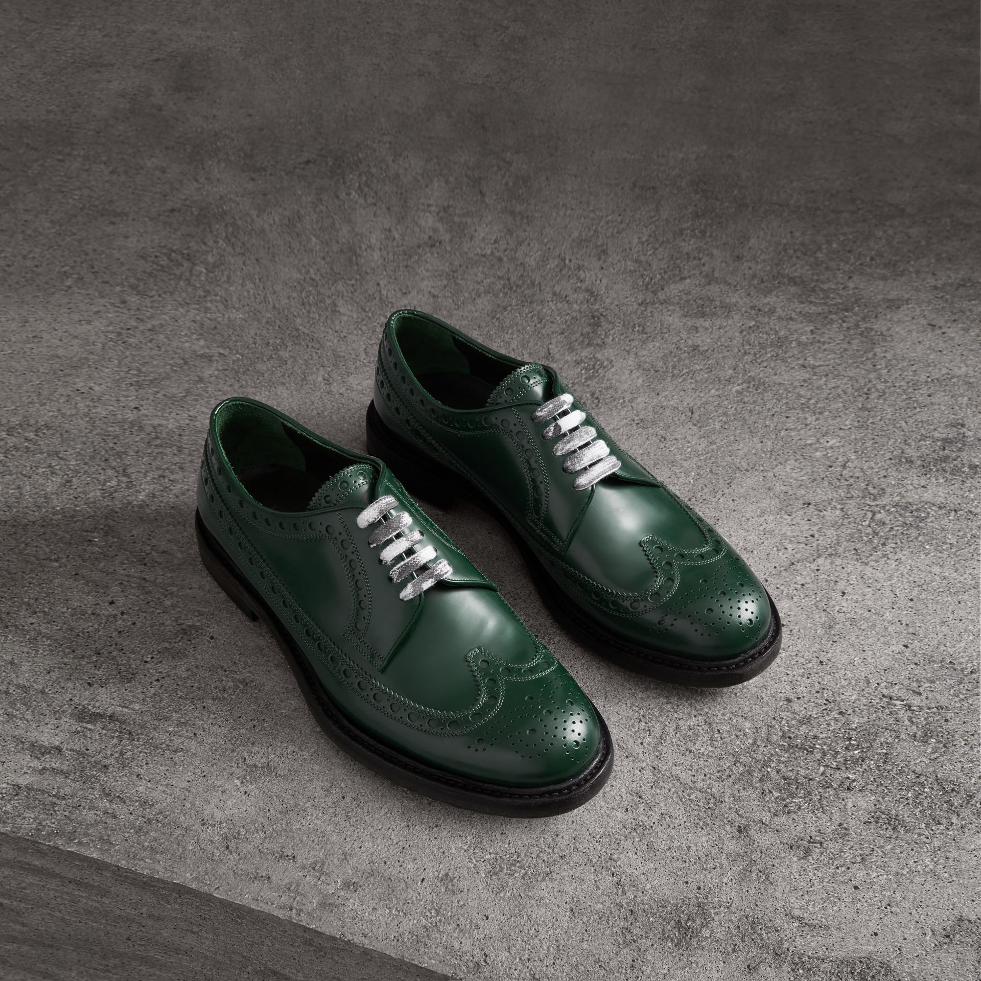 Leather Brogues with Painted Laces in Bottle Green - Men | Burberry - gallery image 0