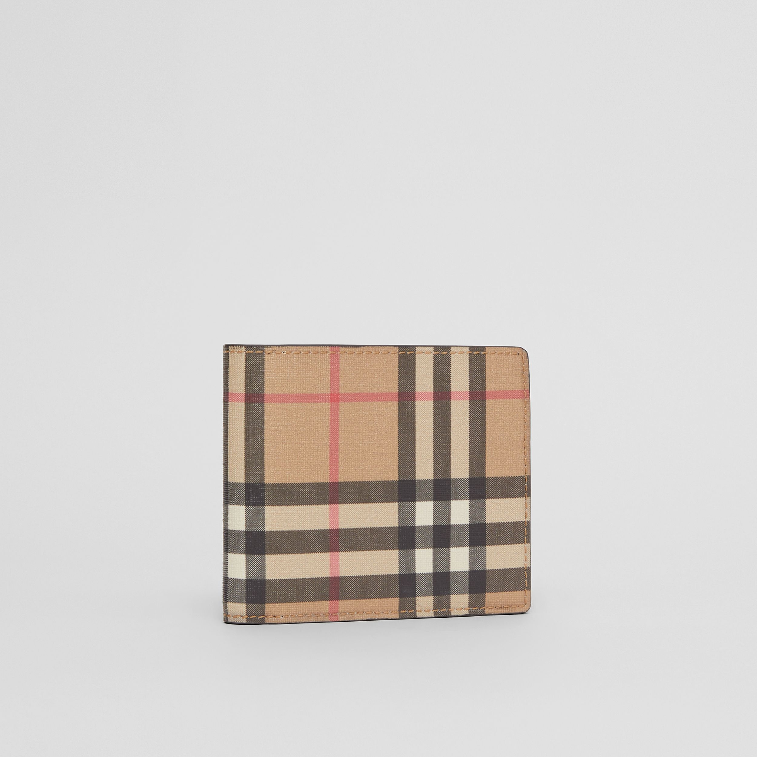 Vintage Check E-canvas Wallet with ID Card Case in Archive Beige - Men | Burberry Singapore - 4