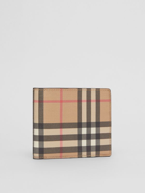 Vintage Check E-canvas Wallet with ID Card Case in Archive Beige - Men | Burberry - cell image 3