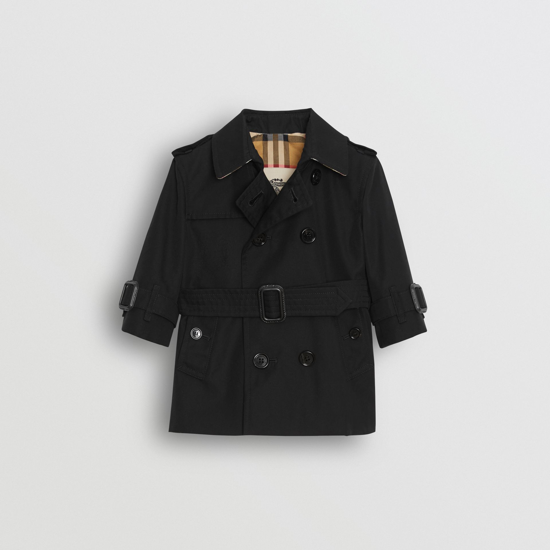 Cotton Gabardine Trench Coat in Black - Children | Burberry Australia - gallery image 0