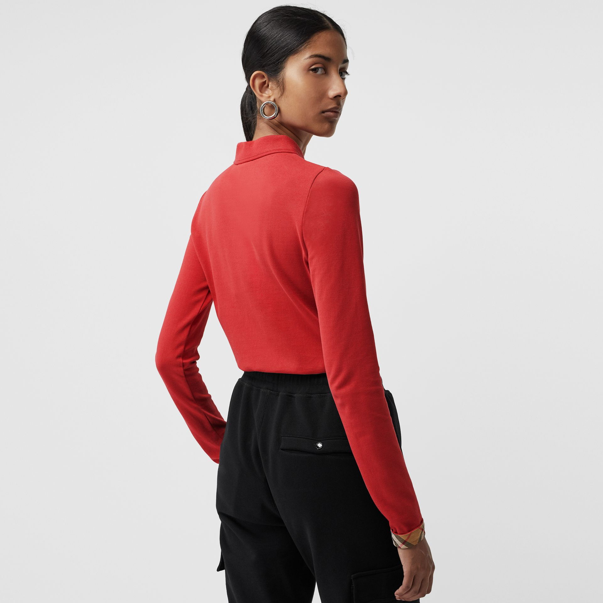 Long-sleeve Check Placket Cotton Piqué Polo Shirt in Bright Red - Women | Burberry United Kingdom - gallery image 2