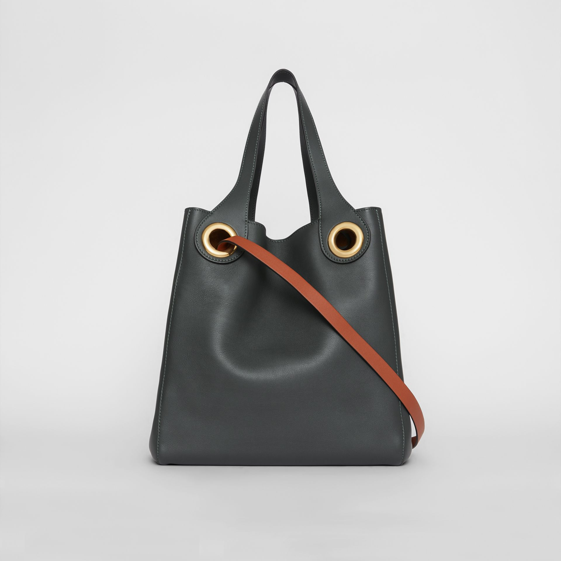 The Leather Grommet Detail Tote in Dark Emerald - Women | Burberry United States - gallery image 5