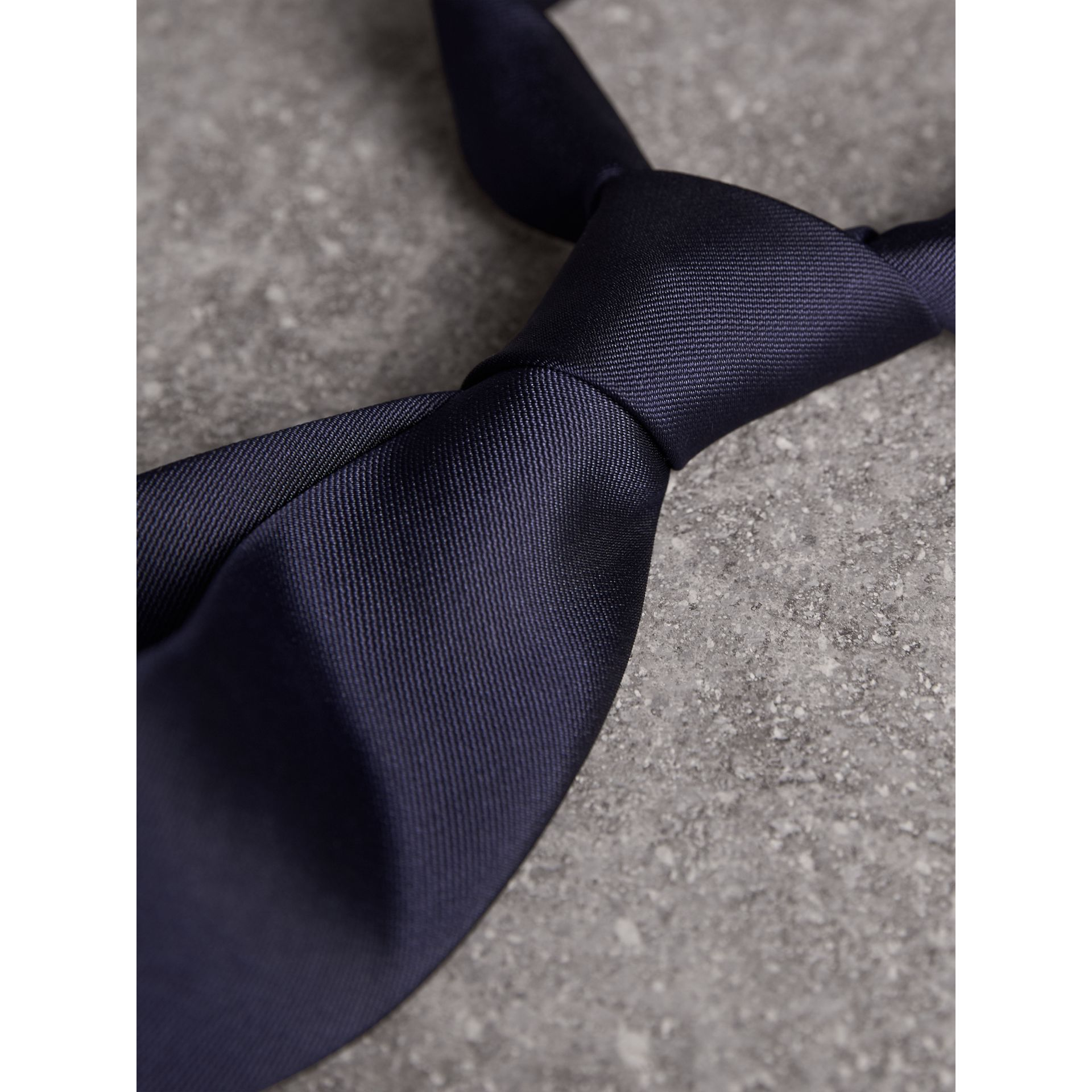 Modern Cut Silk Twill Tie in Navy - Men | Burberry Australia - gallery image 2