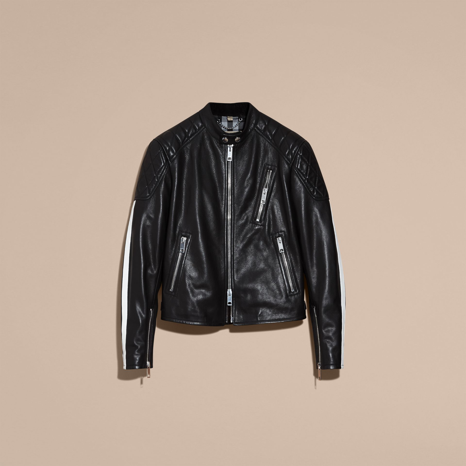 Black Stripe Detail Leather Jacket - gallery image 4