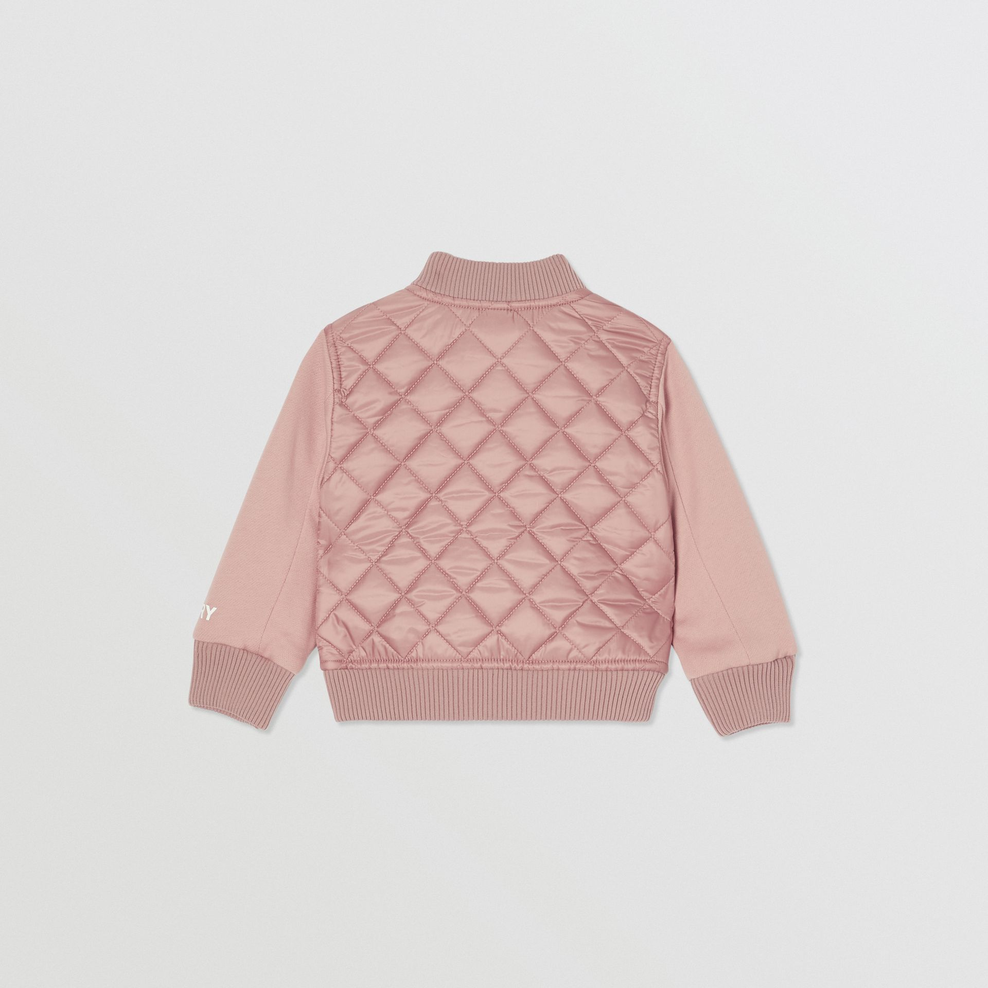 Contrast Sleeve Diamond Quilted Bomber Jacket in Lavender Pink - Children | Burberry - gallery image 3