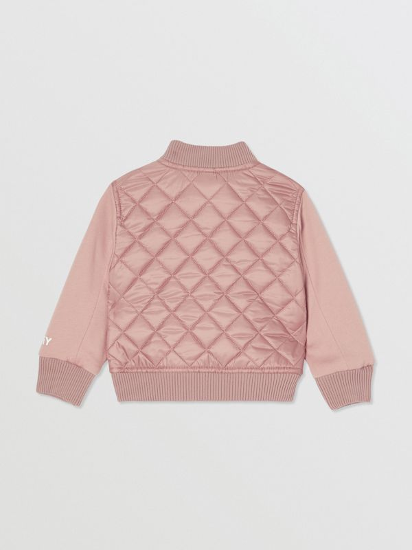 Contrast Sleeve Diamond Quilted Bomber Jacket in Lavender Pink - Children | Burberry - cell image 3