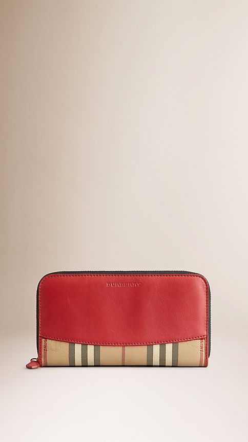 Parade red Horseferry Check and Leather Ziparound Wallet - Image 1