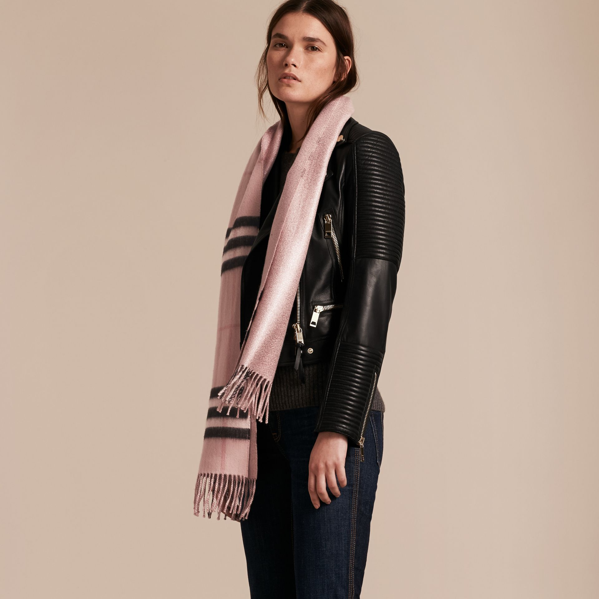 Ash rose Reversible Metallic Check Cashmere Scarf Rose - gallery image 3