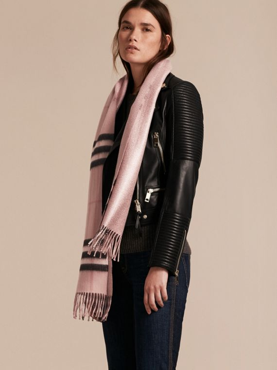 Reversible Metallic Check Cashmere Scarf in Ash Rose | Burberry Australia - cell image 2