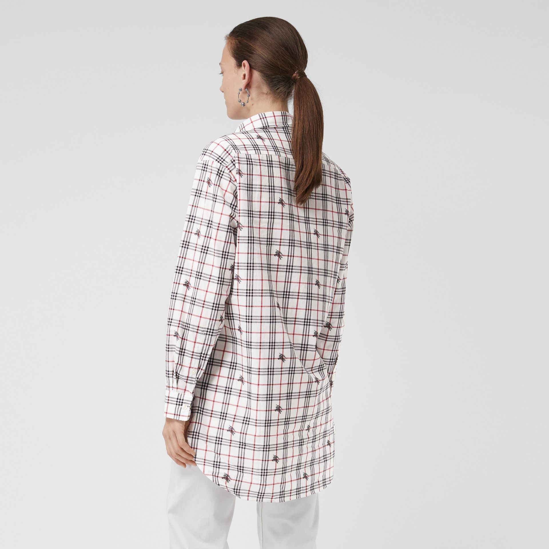 Equestrian Knight Check Cotton Shirt in Natural White - Women | Burberry Australia - gallery image 2