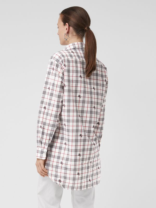 Equestrian Knight Check Cotton Shirt in Natural White - Women | Burberry - cell image 2