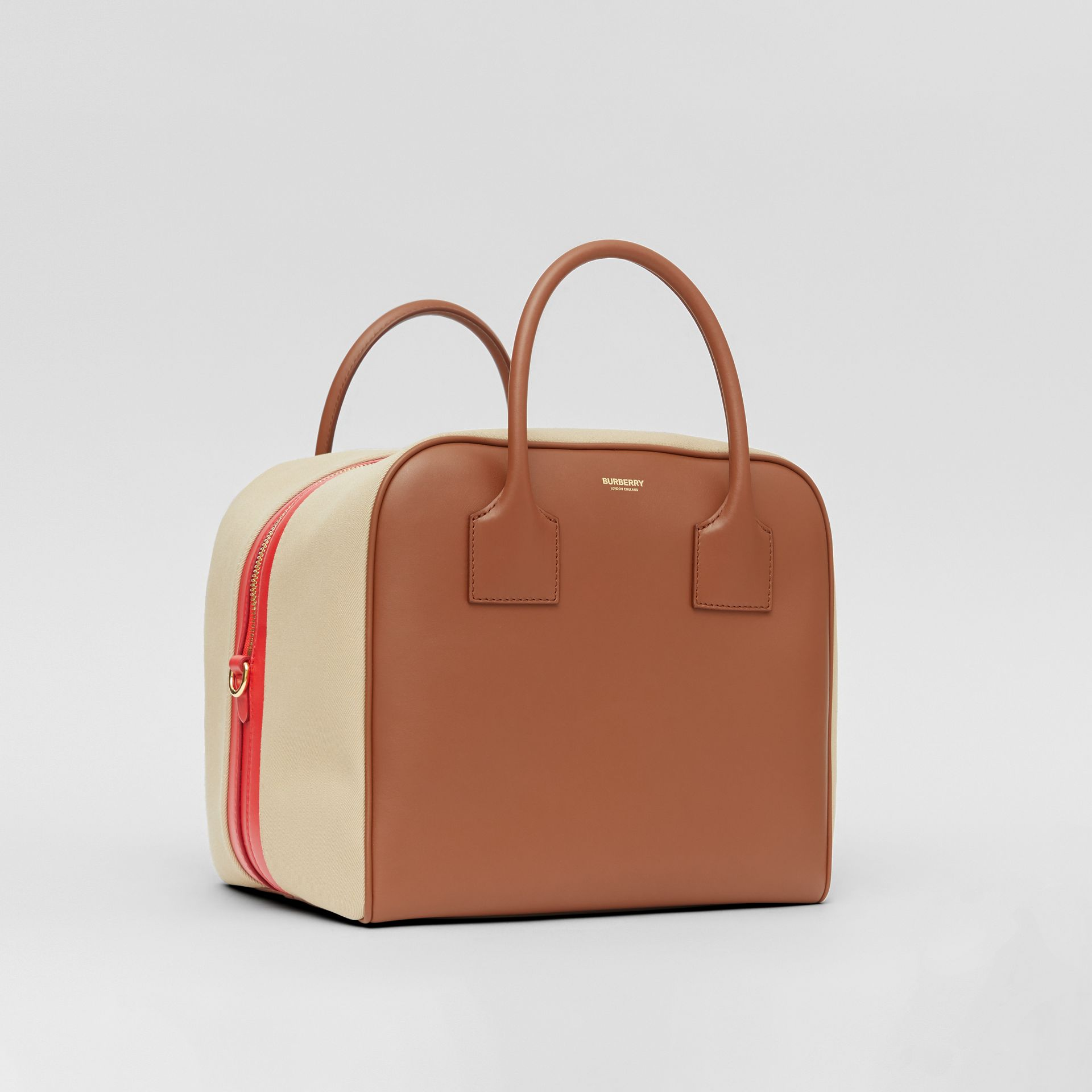 Medium Leather and Cotton Canvas Cube Bag in Malt Brown - Women | Burberry - gallery image 7