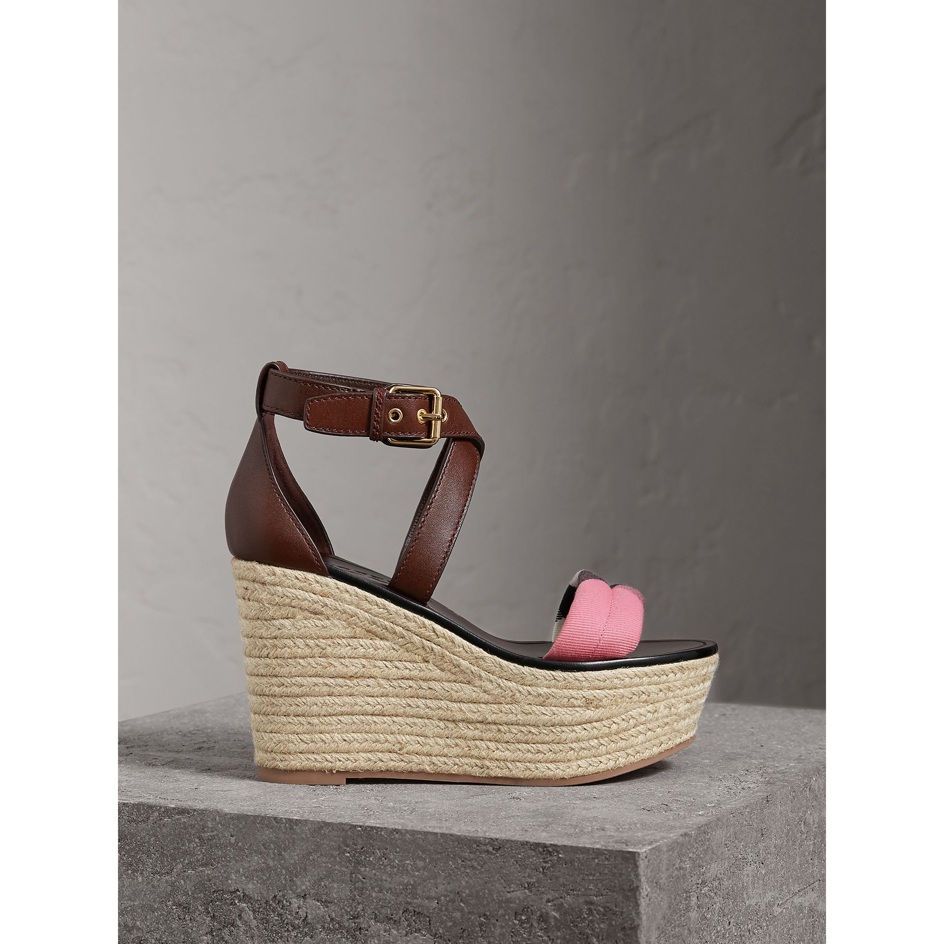 Leather and House Check Platform Espadrille Wedge Sandals in Cerise Purple - Women | Burberry United Kingdom - gallery image 1