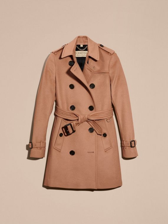 Trench coat in lana e cashmere Cammello - cell image 3