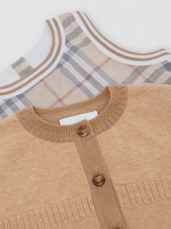 Vintage Check Cotton Three-piece Baby Gift Set in Pale Stone - Children | Burberry Hong Kong S.A.R - cell image 1