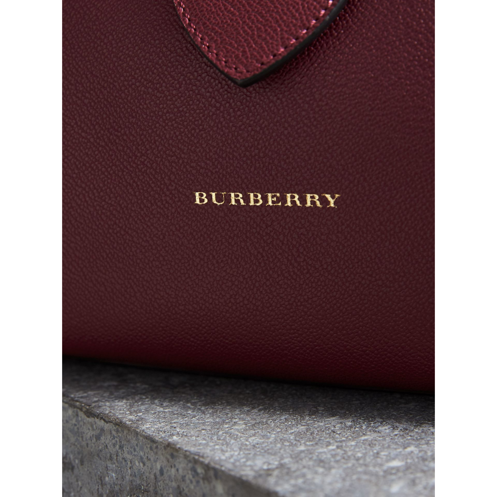 The Medium Buckle Tote in Grainy Leather in Dark Plum - gallery image 2