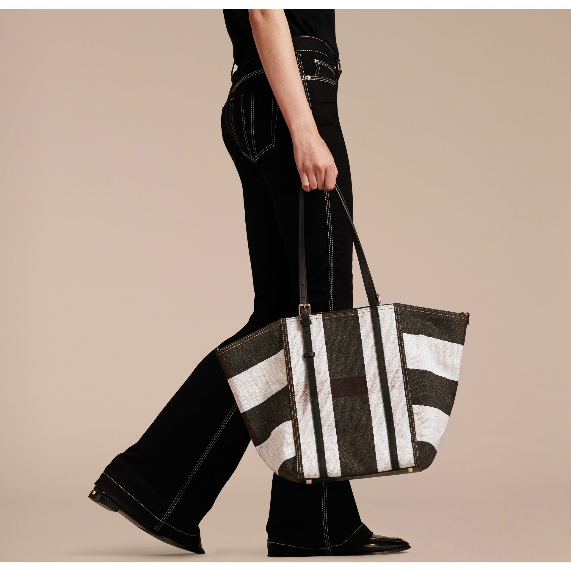 Black Striped Canvas Tote with Leather Trim - gallery image 2