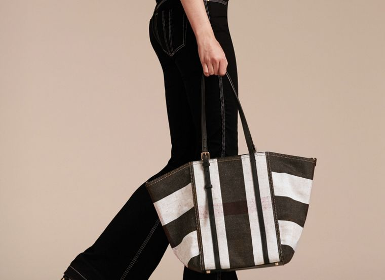 Black Striped Canvas Tote with Leather Trim - cell image 1