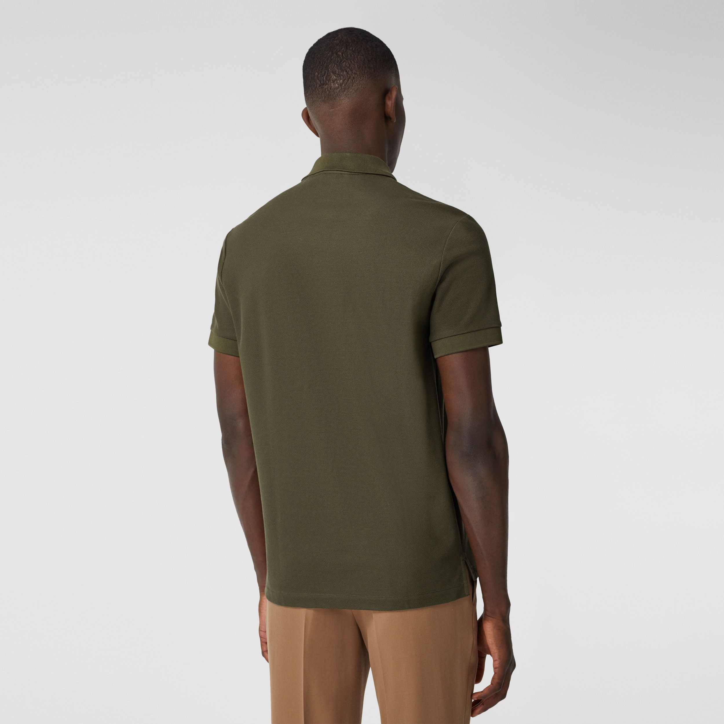Monogram Motif Cotton Piqué Polo Shirt in Dark Olive - Men | Burberry - 3