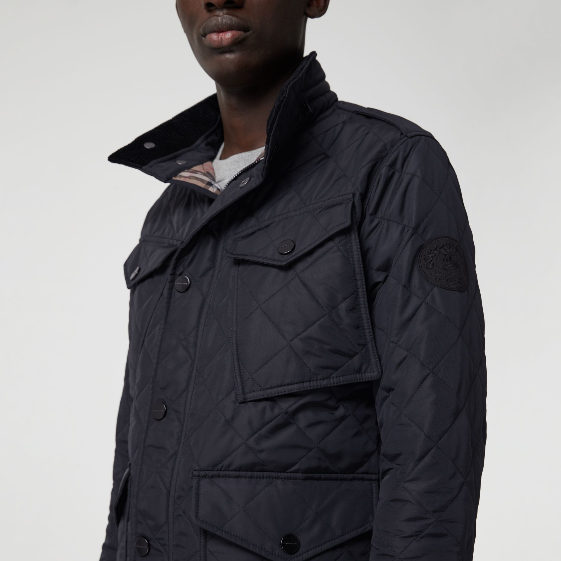 Diamond Quilted Thermoregulated Field Jacket in Navy - Men | Burberry - gallery image 1
