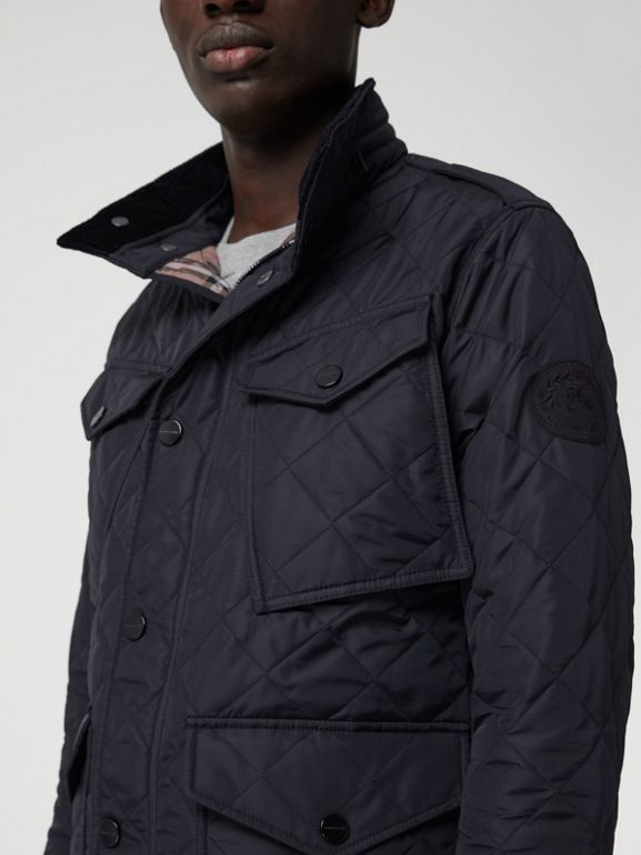 Diamond Quilted Thermoregulated Field Jacket in Navy - Men | Burberry United States - cell image 1