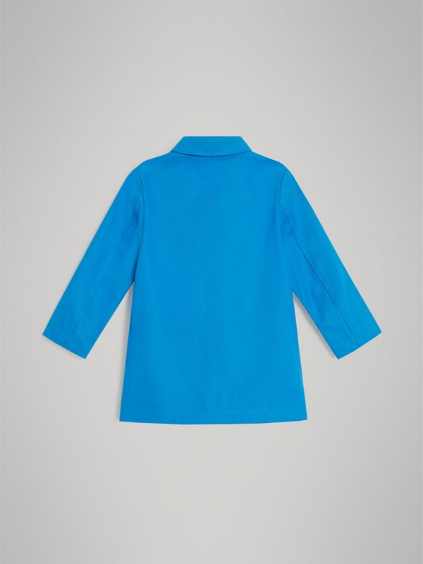 Mercerised Bonded Cotton Car Coat in Bright Blue | Burberry - cell image 3