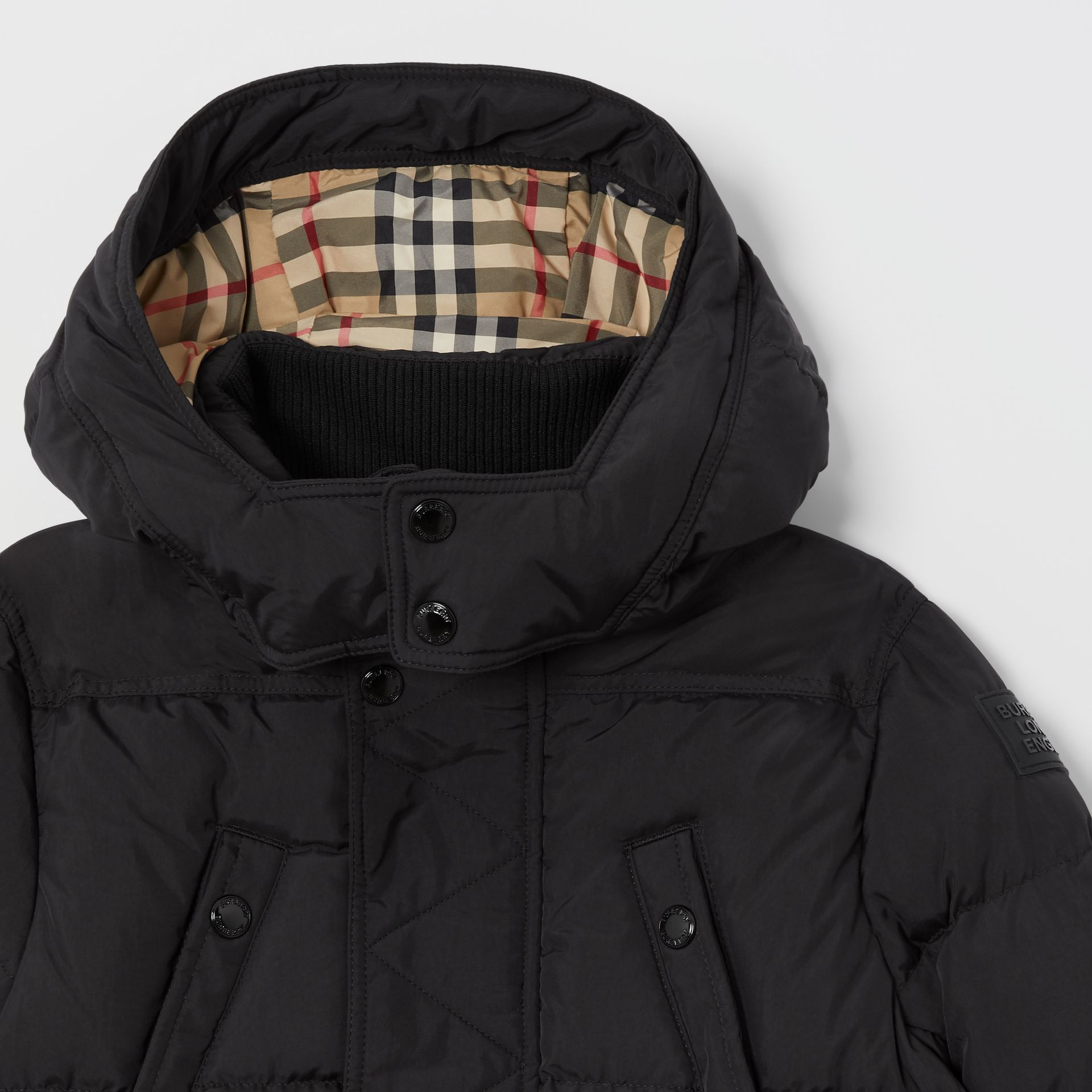 Detachable Hood Down-filled Puffer Coat in Black | Burberry - gallery image 4