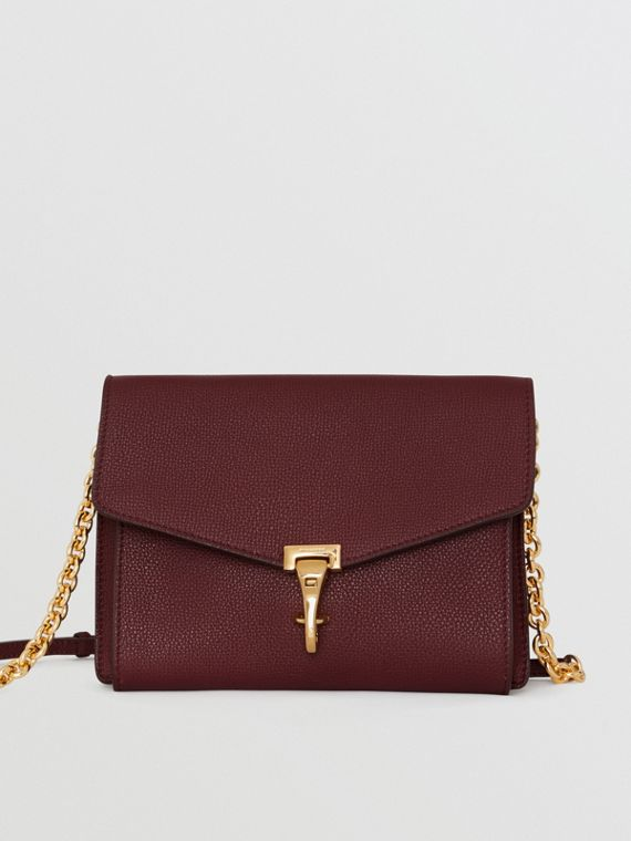 Small Leather Crossbody Bag in Mahogany Red