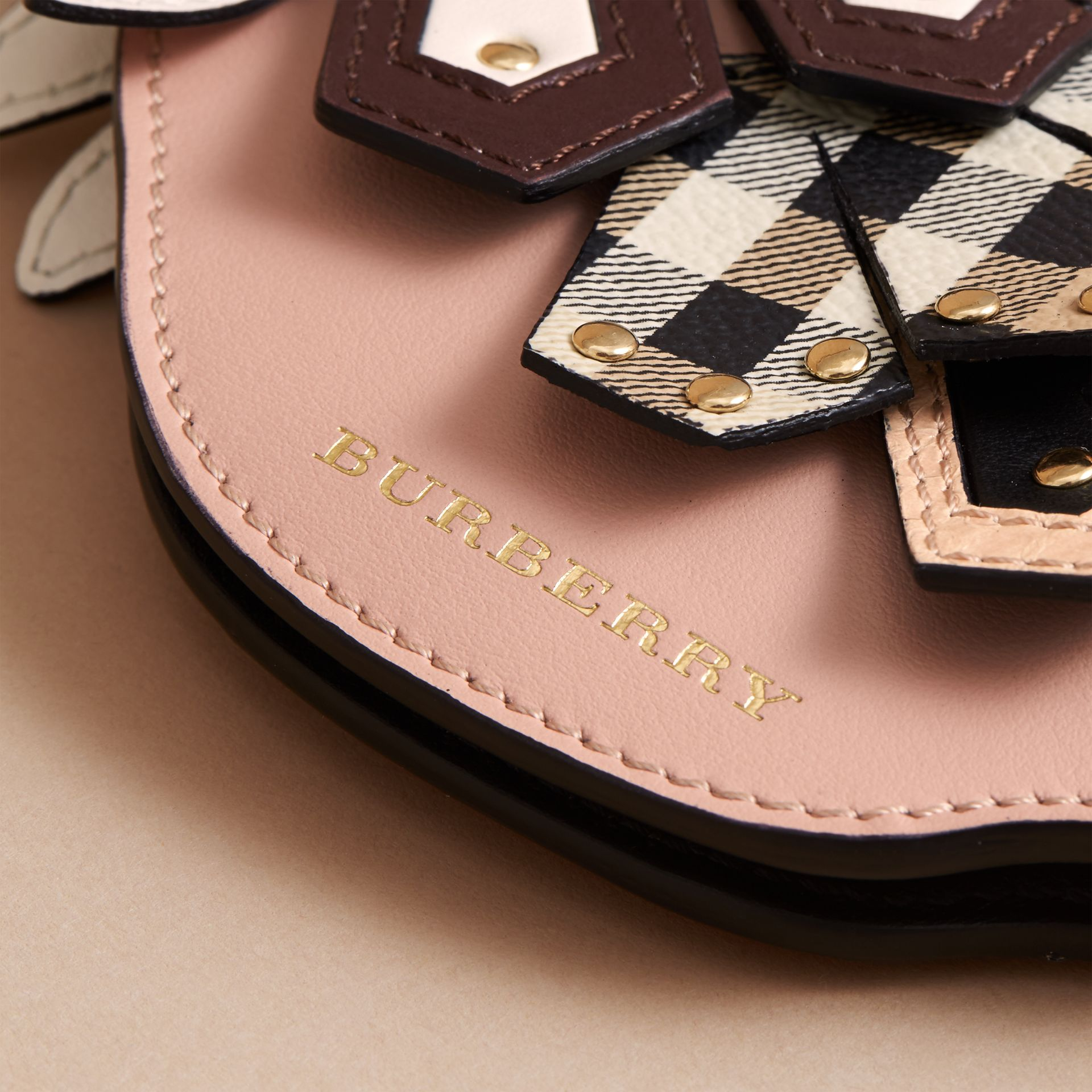 The Falcon – Leather and Haymarket Check Coin Case in Ash Rose - Women | Burberry - gallery image 2