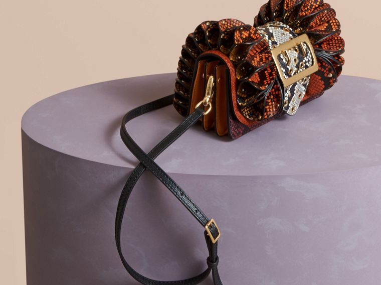 Redwood The Ruffle Buckle Bag in Snakeskin and Calfskin - cell image 4