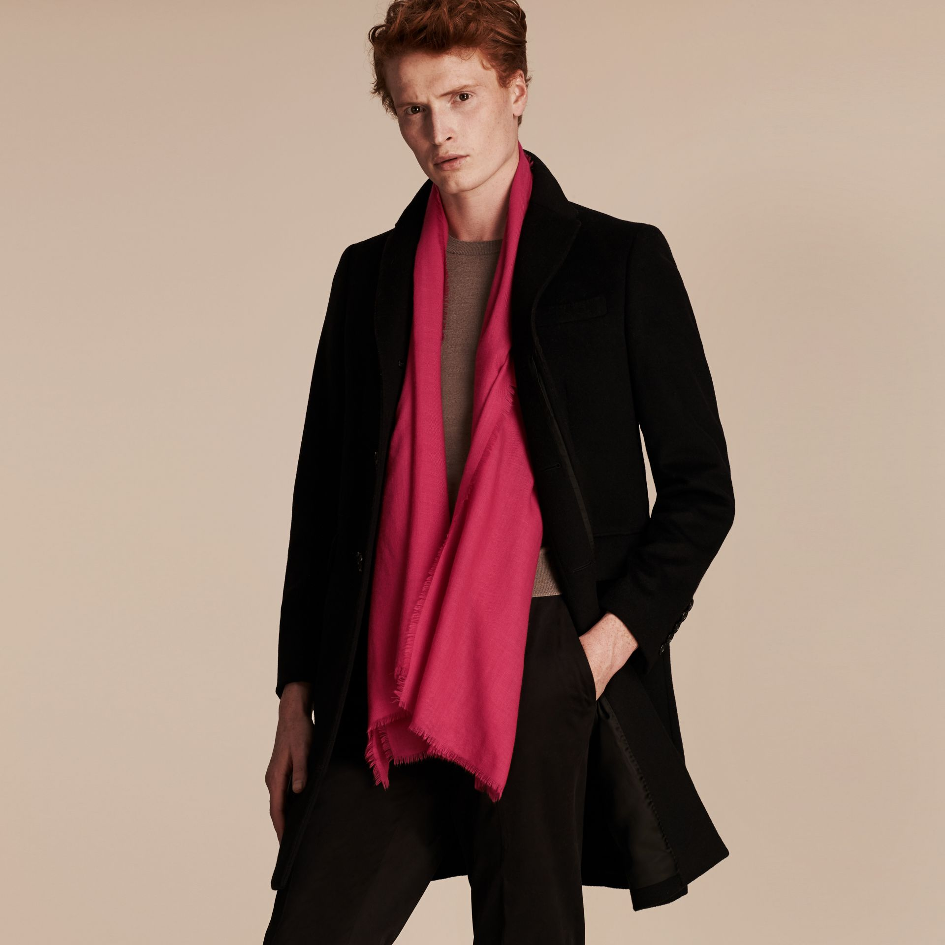 The Lightweight Cashmere Scarf in Fuchsia Pink | Burberry Australia - gallery image 4