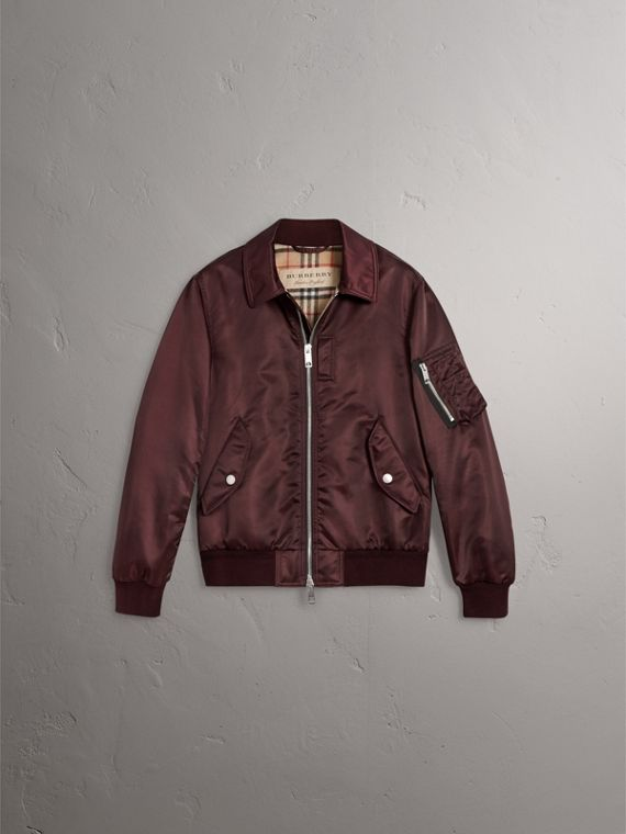 Point Collar Bomber Jacket in Claret - Men | Burberry - cell image 3