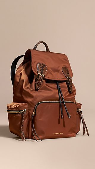 Zaino The Rucksack grande in nylon tecnico e pelle di serpente