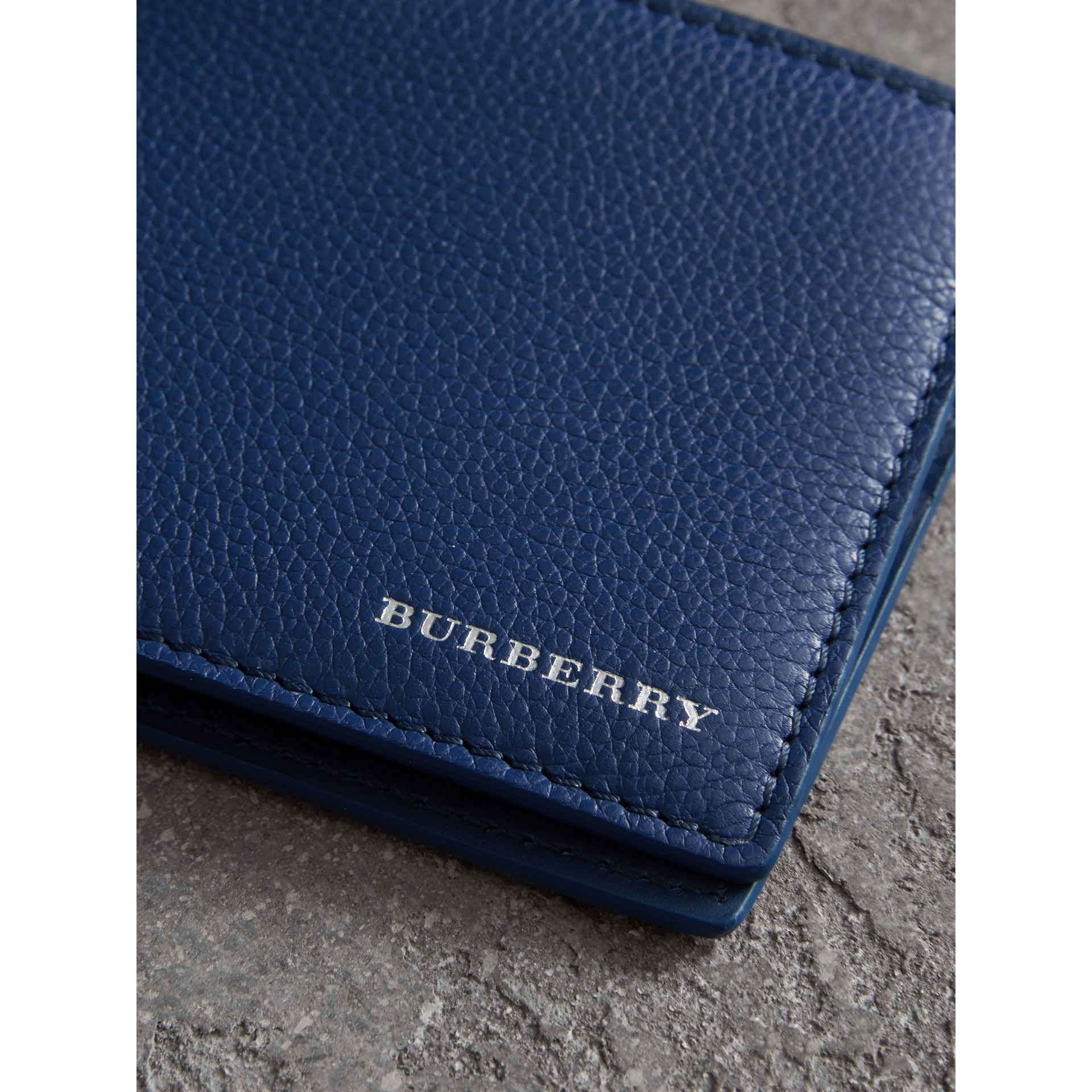Grainy Leather Bifold Wallet in Bright Ultramarine - Men | Burberry United States - gallery image 1