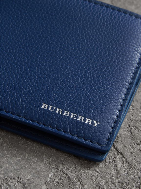 Grainy Leather Bifold Wallet in Bright Ultramarine - Men | Burberry United States - cell image 1