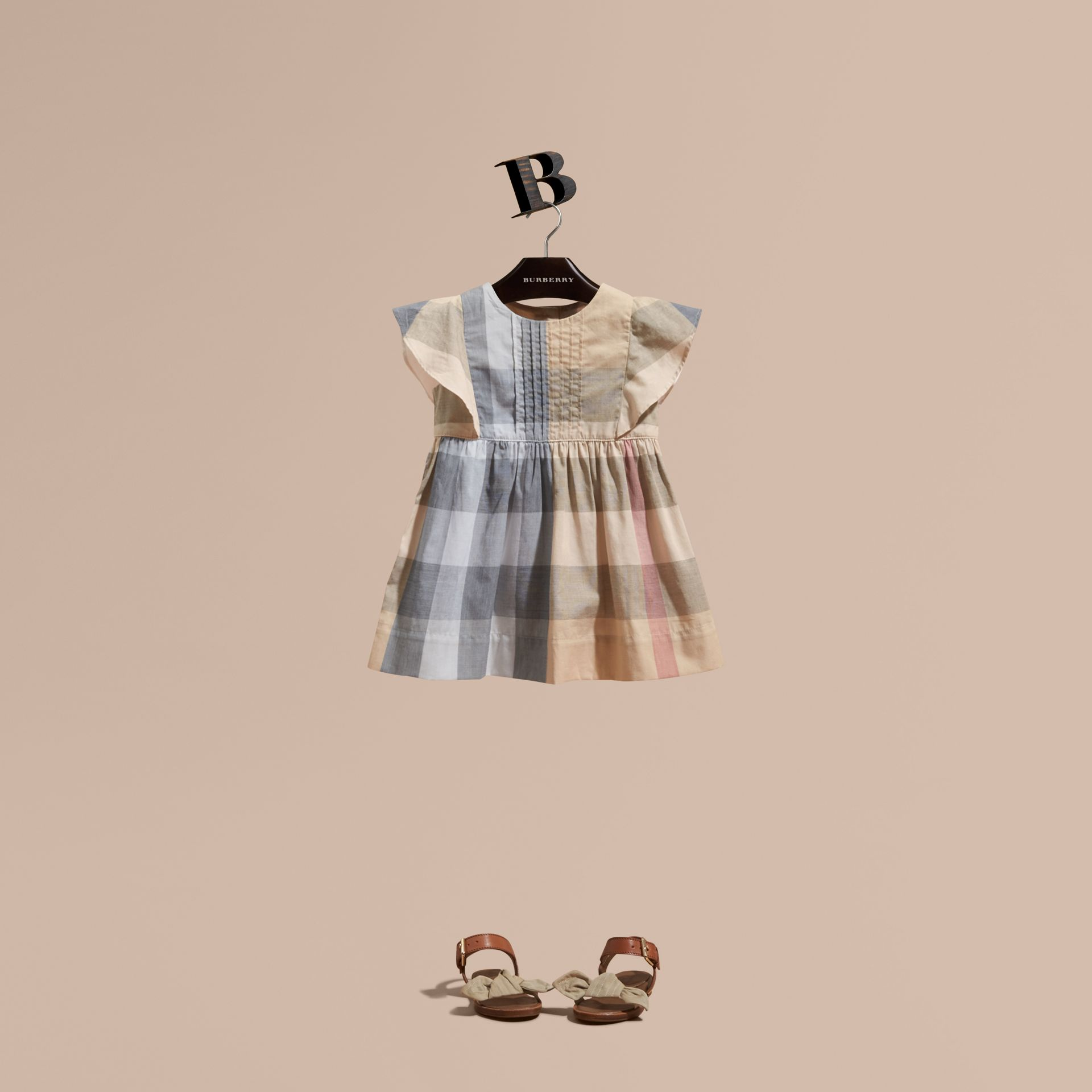 Ruffle Detail Check Cotton Dress in Pale Stone | Burberry - gallery image 1