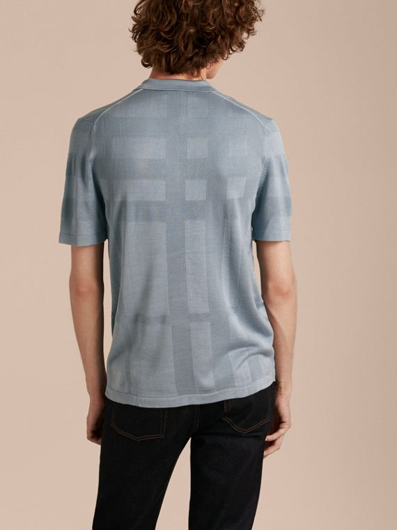 Check Jacquard Piqué Silk Cotton Polo Shirt in Slate Blue - Men | Burberry - cell image 2