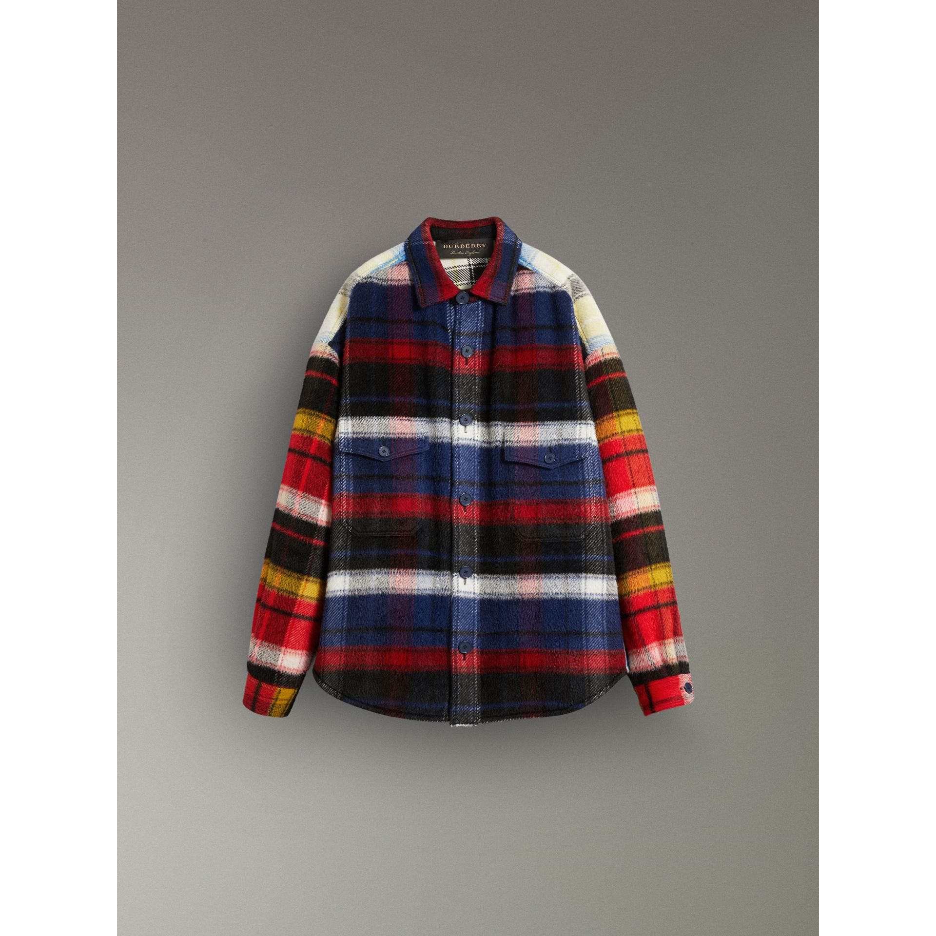 Check Alpaca Wool Jacket in Bright Navy | Burberry United States - gallery image 3