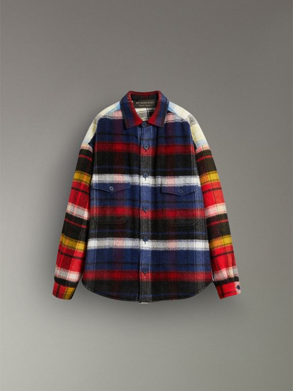 Check Alpaca Wool Jacket in Bright Navy | Burberry - cell image 3