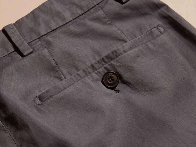 Mid grey Slim Fit Stretch Cotton Trousers Mid Grey - cell image 1