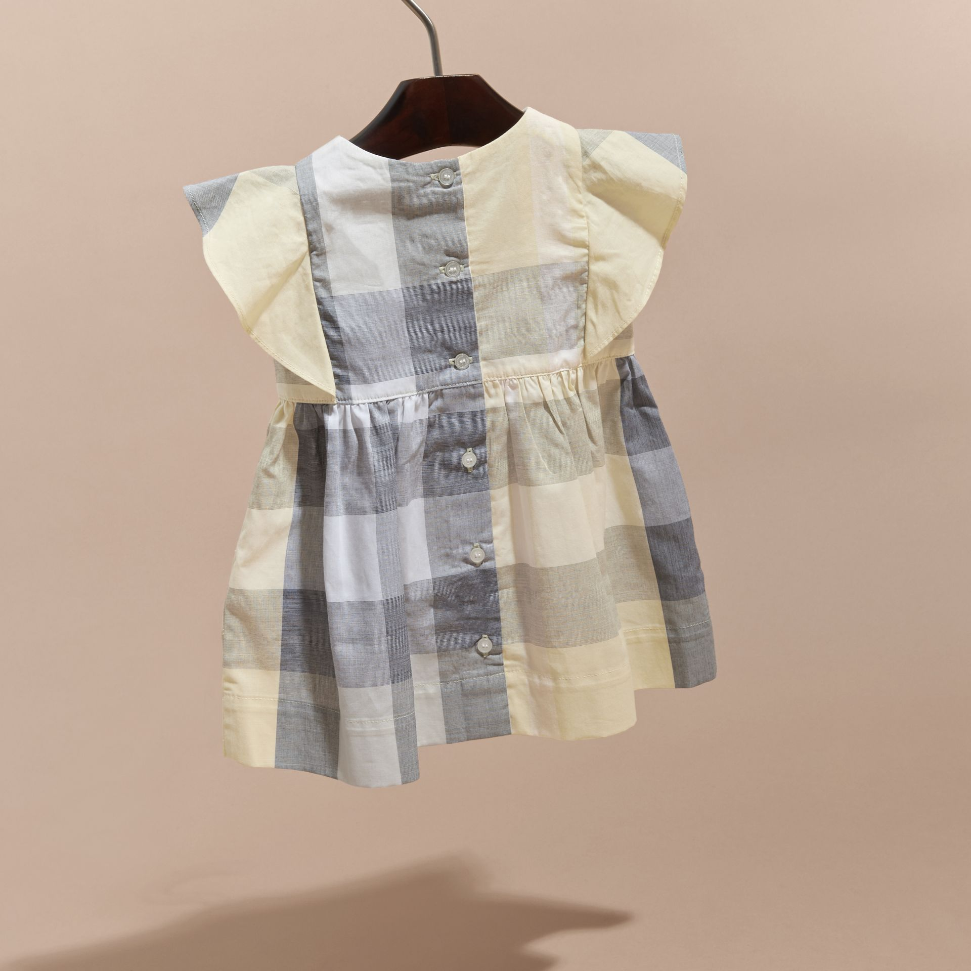 Ruffle Detail Check Cotton Dress in Pale Yellow | Burberry - gallery image 3