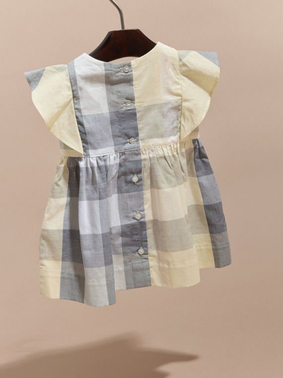 Ruffle Detail Check Cotton Dress Pale Yellow - cell image 3