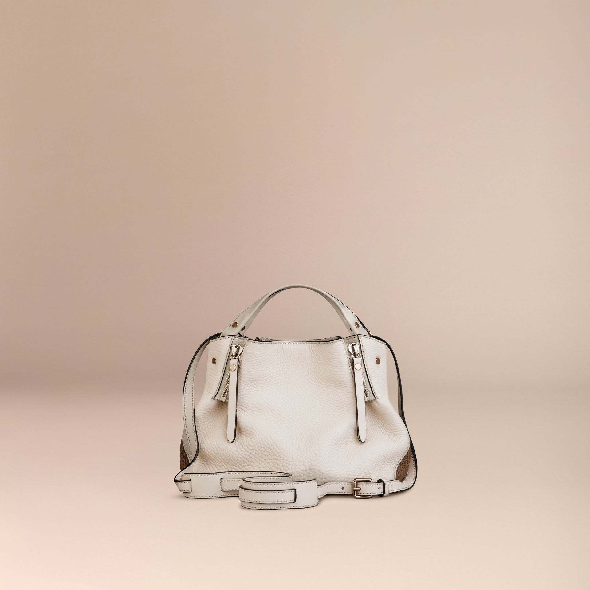 White Small Check Detail Leather Tote Bag White - gallery image 4
