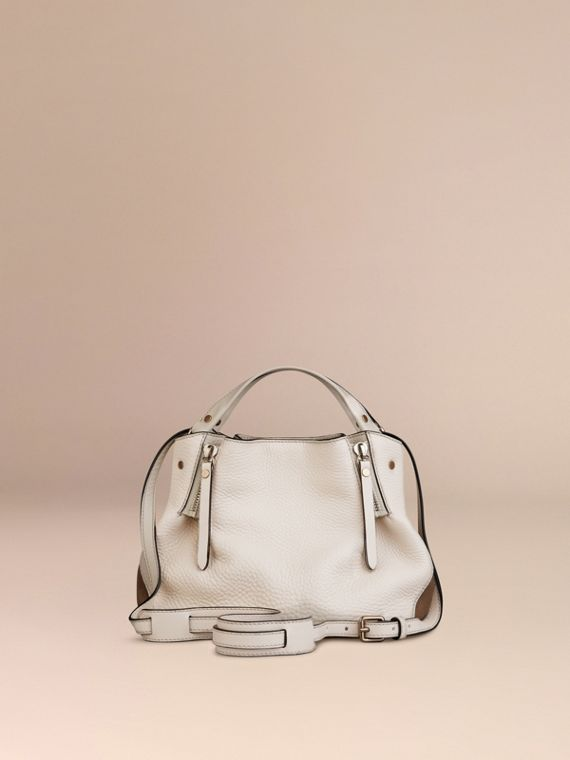 White Small Check Detail Leather Tote Bag White - cell image 3