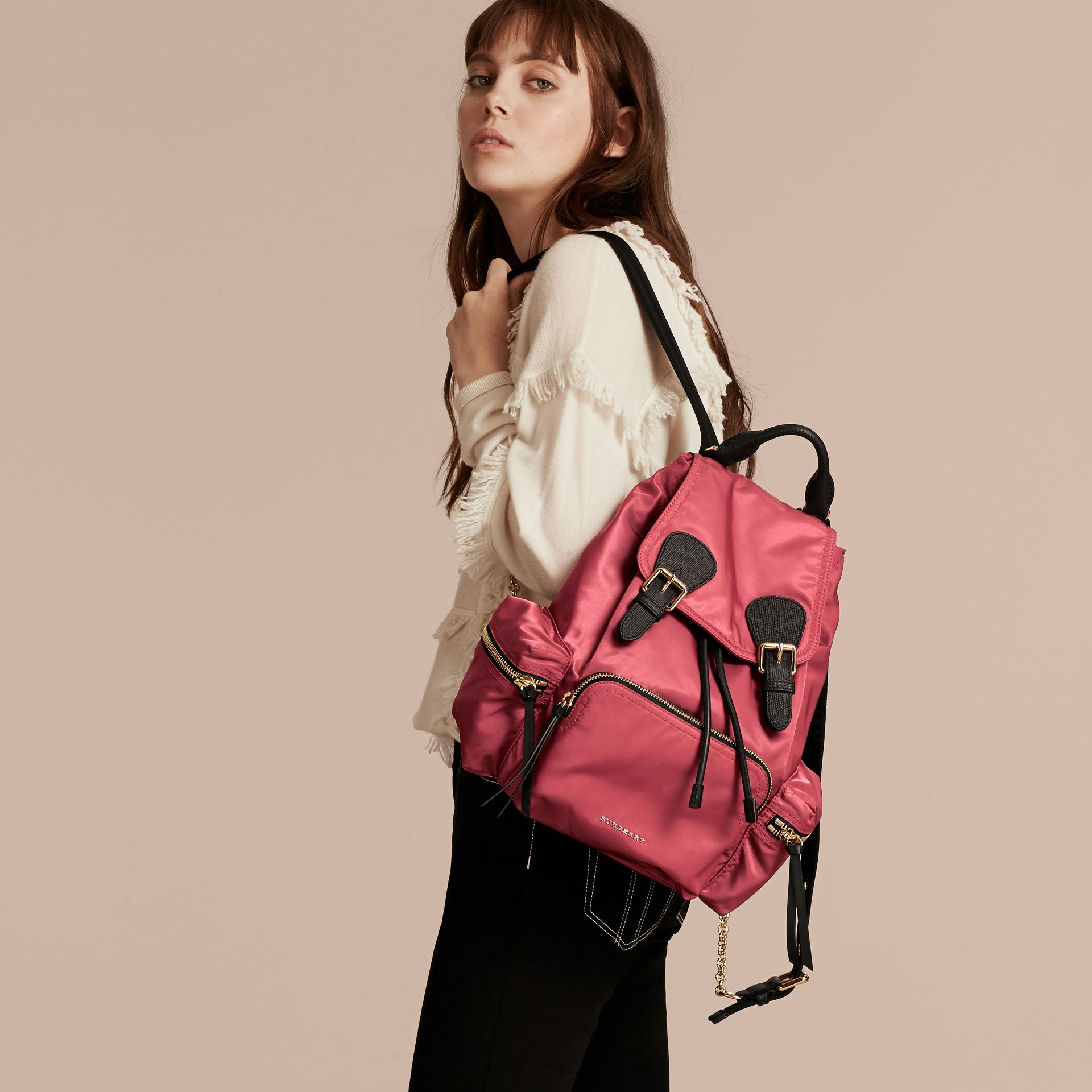 The Medium Rucksack in Technical Nylon and Leather Plum Pink - gallery image 3
