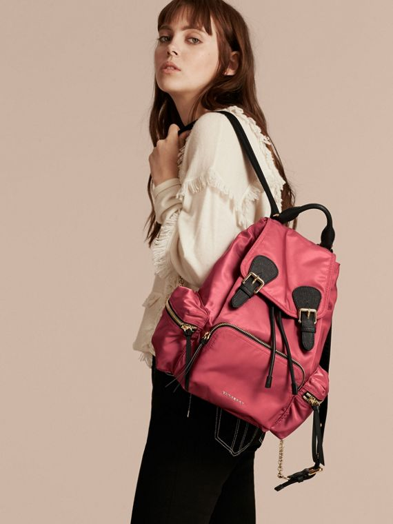 The Medium Rucksack in Technical Nylon and Leather Plum Pink - cell image 2