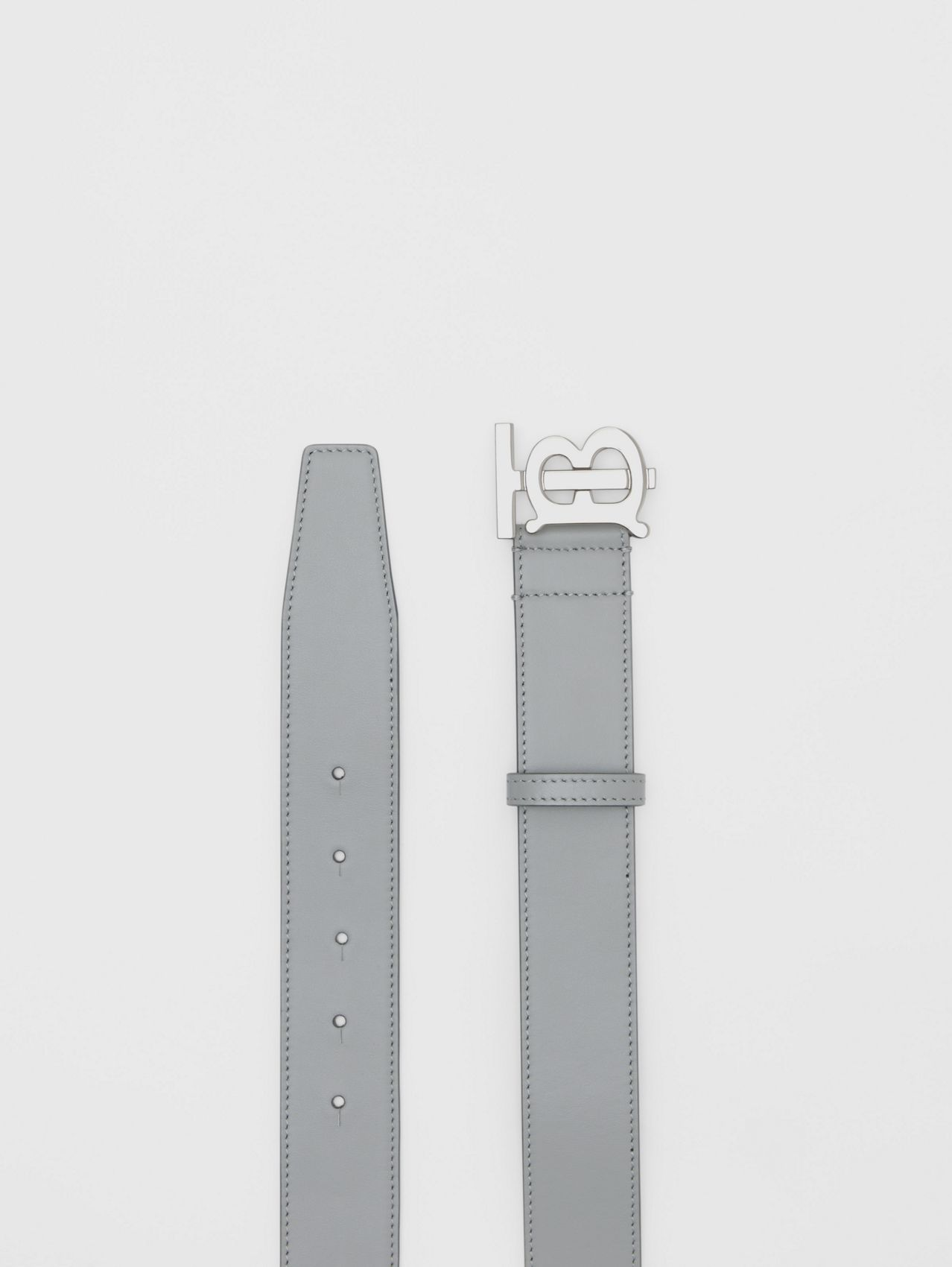 Monogram Motif Leather Belt in Cloud Grey