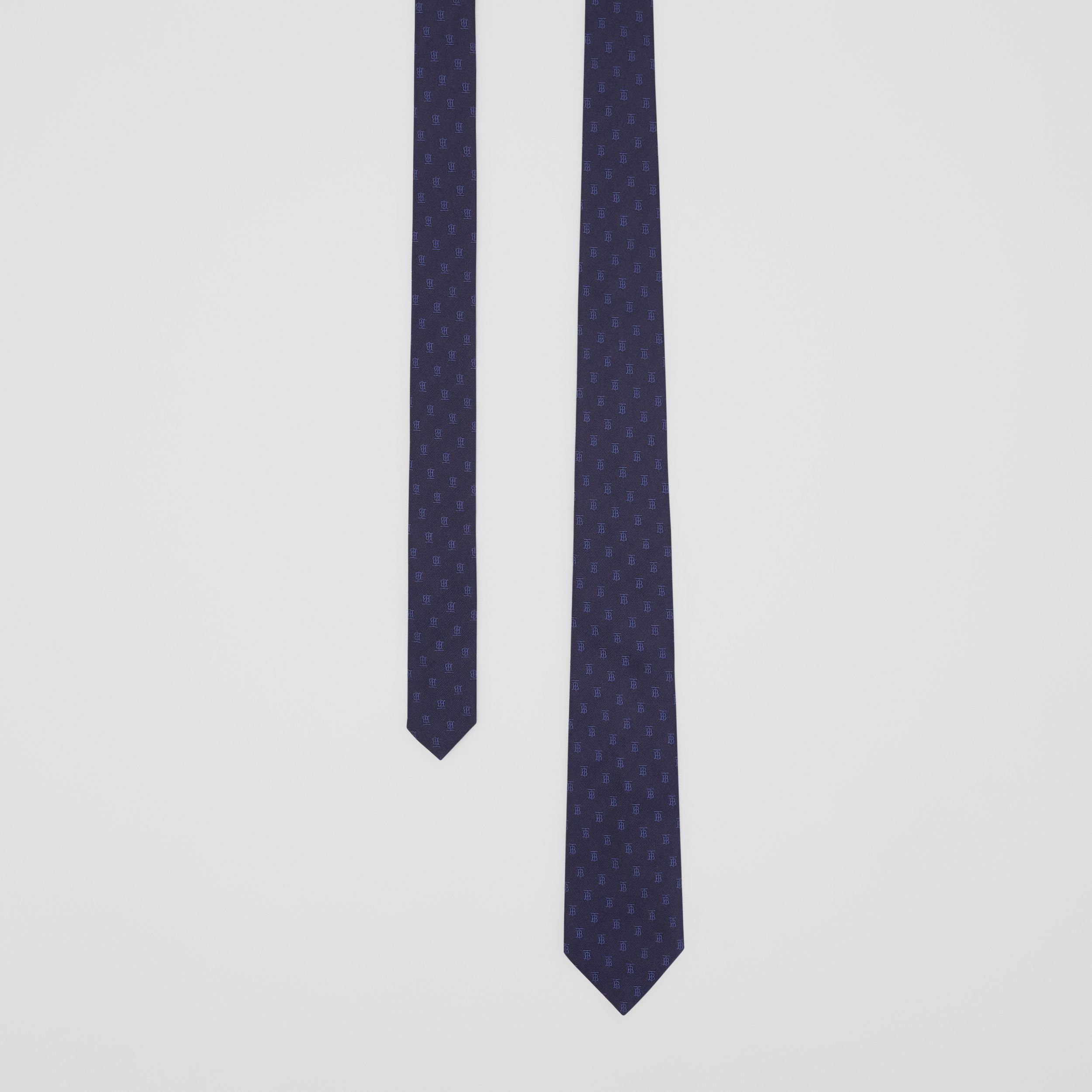 Classic Cut Monogram Motif Silk Jacquard Tie in Navy - Men | Burberry Canada - 1