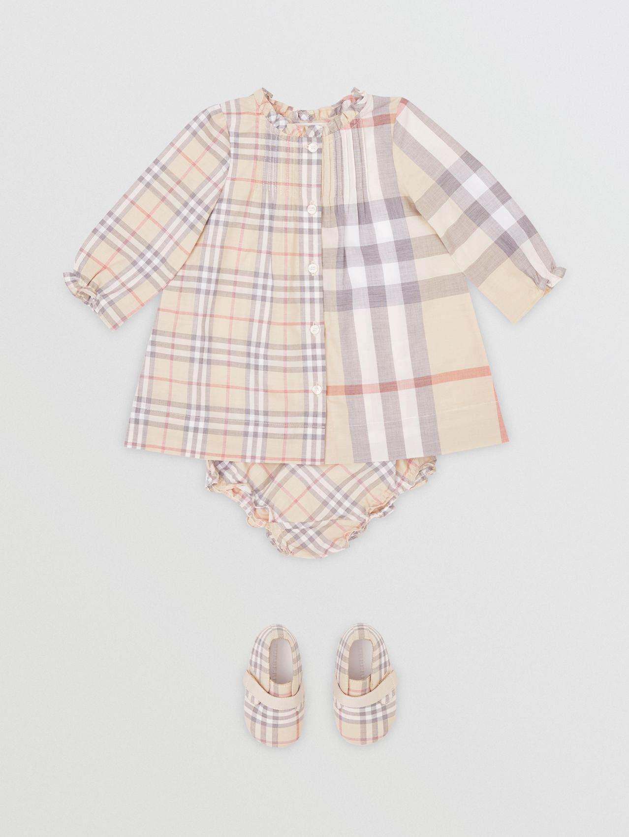 Contrast Check Cotton Dress with Bloomers in Pale Stone